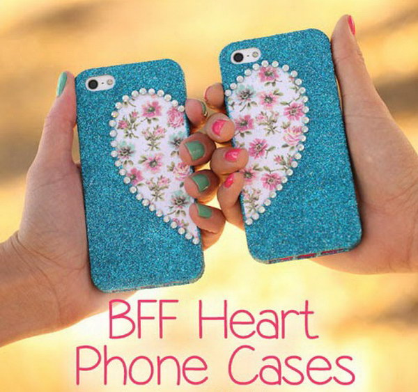 BFF Glitter Heart Matching Phone Cases.