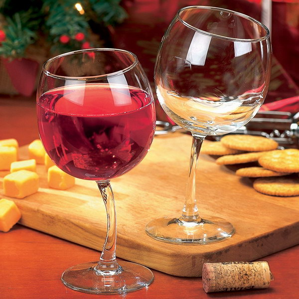 Tipsy Wine Glasses. These wine glasses are perfect fun gifts for wine lovers and the tipsy look would makes you laugh just looking at them.