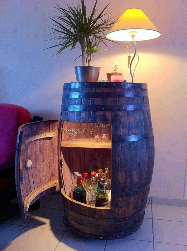 DIY Wine Barrel Cabinet.