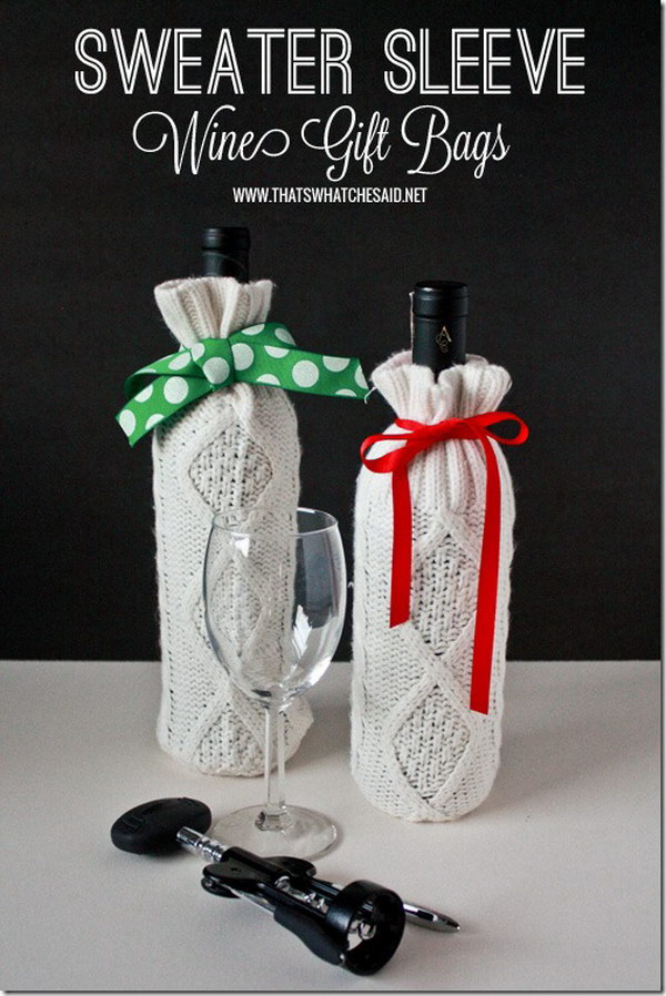 Sweater Sleeve Wine Bottle Gift Bags. Use the sleeve from an old sweater to cover a wine bottle. These are perfect for those bottles of wine you are gifting this year!