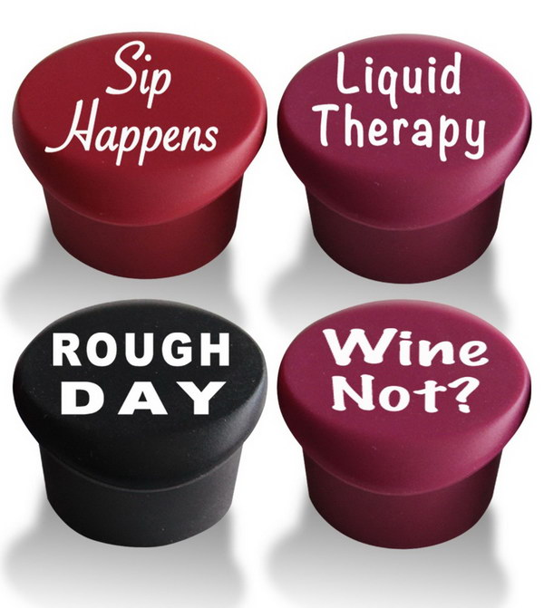 Custom Wine Stoppers. Seal your favorite wine with reusable silicone bottle cap and preserve your wine so it doesn't go bad upon opening the wine bottle. These wine stoppers are very cool and make a nice present for your wine lover friends!