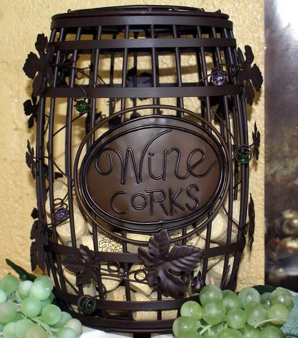 Wine Barrel Cork Cage. What a great way to give a bottle of wine to your friends & family. With this whimsical cork cage you can create your own wine cork art and have the perfect excuse for pouring everyone another glass!