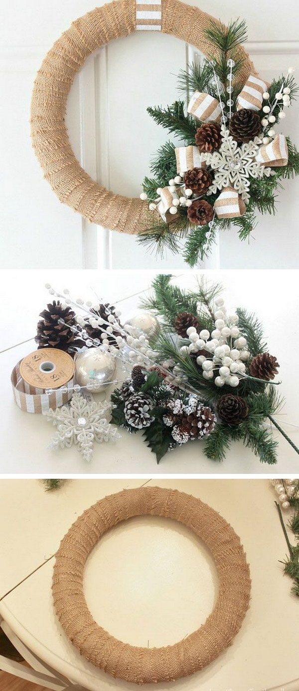Burlap Christmas Wreath. It's quick and easy to make.