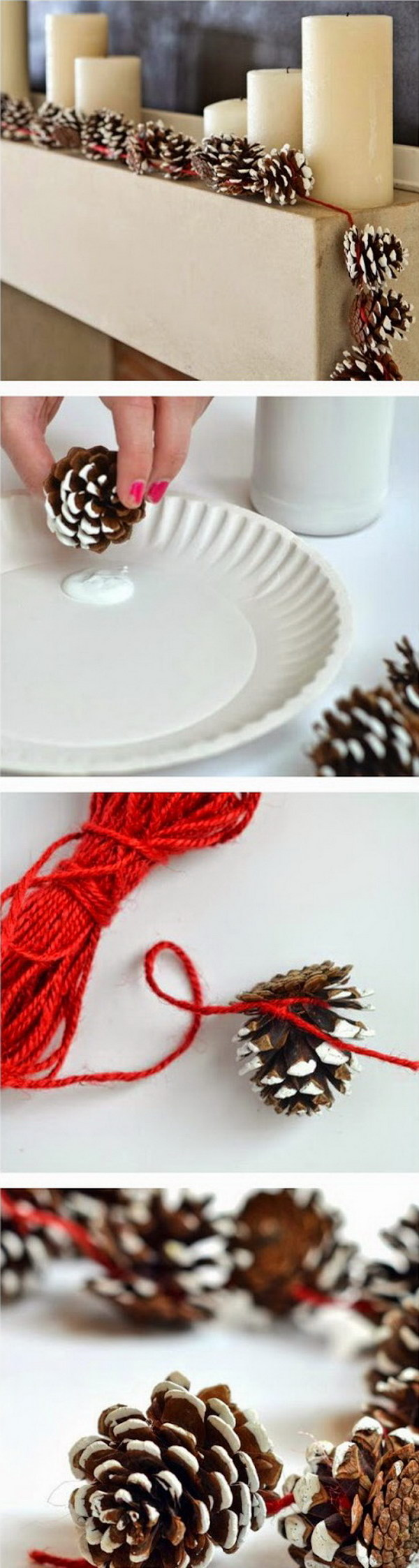 Pine Cone Garlands for Christmas Decoration. Love its rustic look for decoration at home. Super easy crafts that can get your kids involved in.