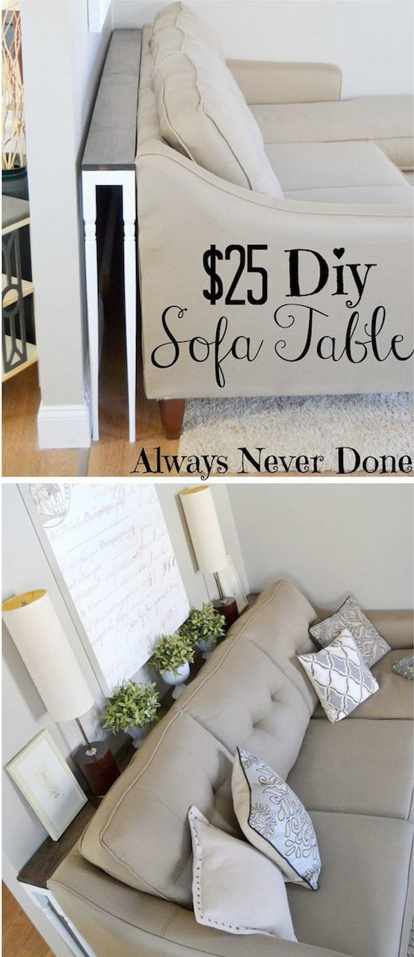 Handmade Skinny Sofa Table. Gain extra table space without taking up any room by building a narrow sofa table like this one to place behind your couch!