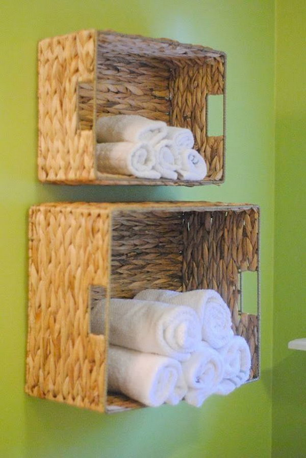 DIY Wall Storage for Bathroom Towel. Instead of storing towels under the dirty sink, you can consider using an easy and lightweight baskets on the wall to store your towels.
