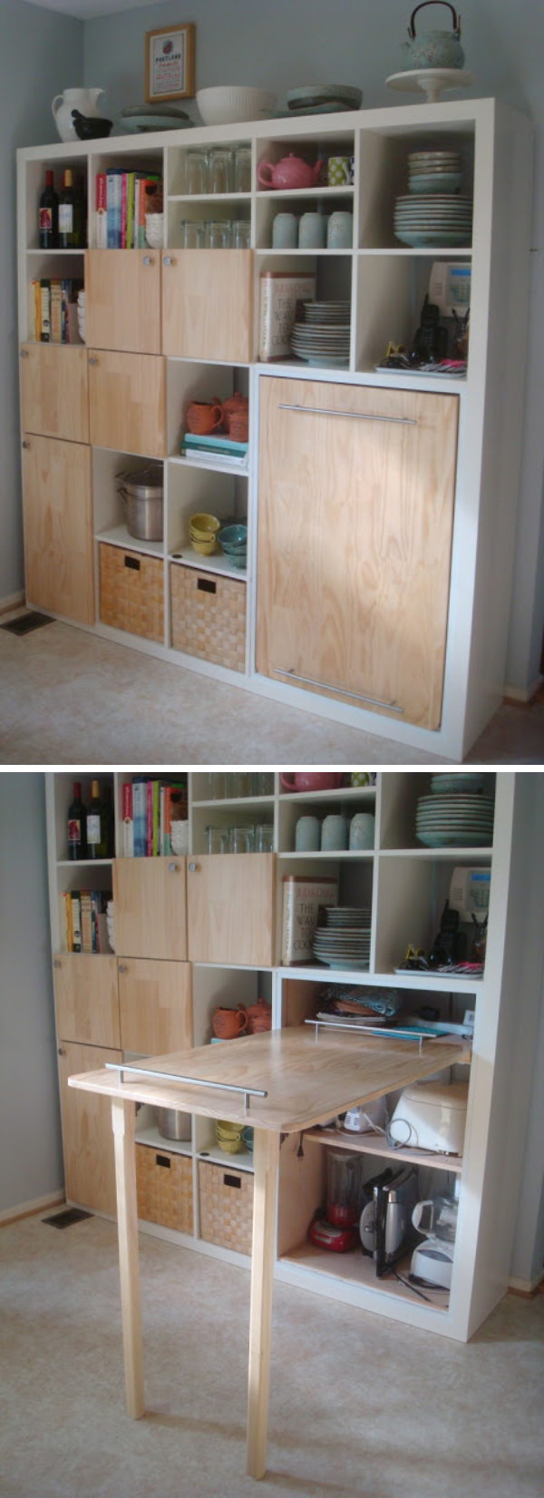 Pull-out Counter Top for Kitchen Storage. Create one pull-out counter top with IKEA hacks for more kitchen storage.
