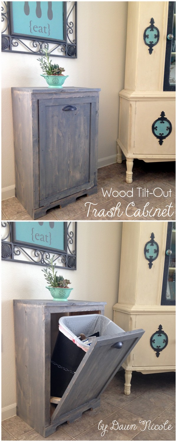 Wood Tilt-Out Trash Can Cabinet. Hide your ugly trash can and aslo gain extra storage in the kitchen with this brilliant fix abd DIY kitchen design.