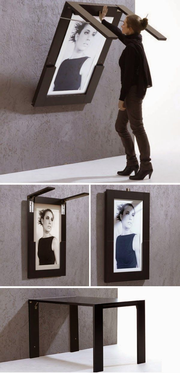 DIY Folding Table Doubles As Picture Frame. This would be great in a small kitchen or a playroom for kids!