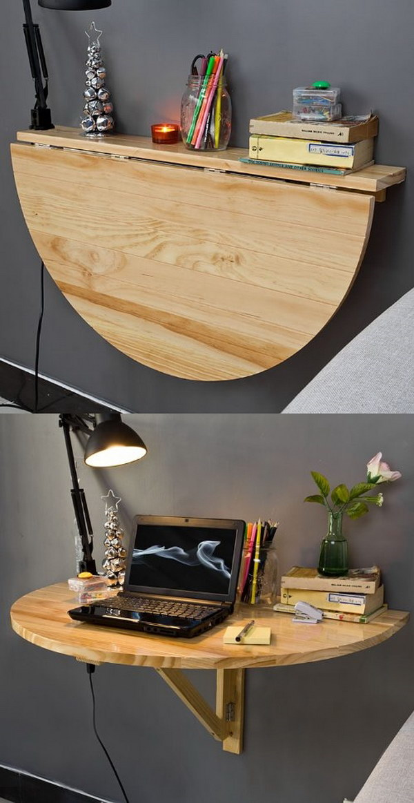Semi-Circular Wall Table. Fold it away when not needed!