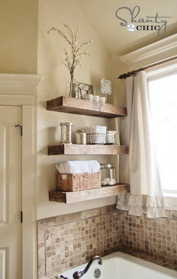 DIY Floating Shelves. These wooden shelves are perfect to store the bathroom items without taking any extra space in a small bathroom.