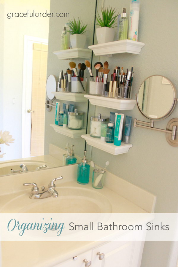 Floating Vanity Shelves. Another genius and creative way to take advantage of the wall space.