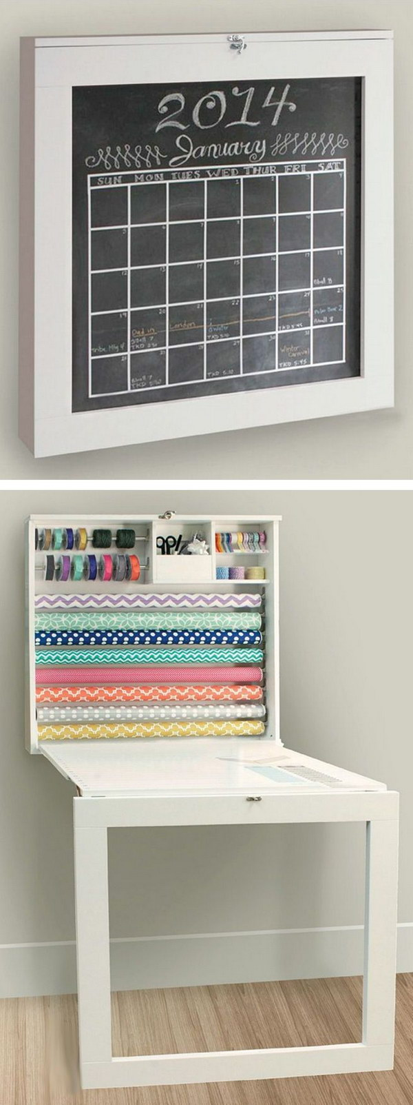 Fold Down Gift Wrap Station & Craft Work Table With Chalkboard.