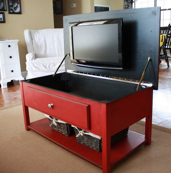 Hidden TV in Coffee Table.