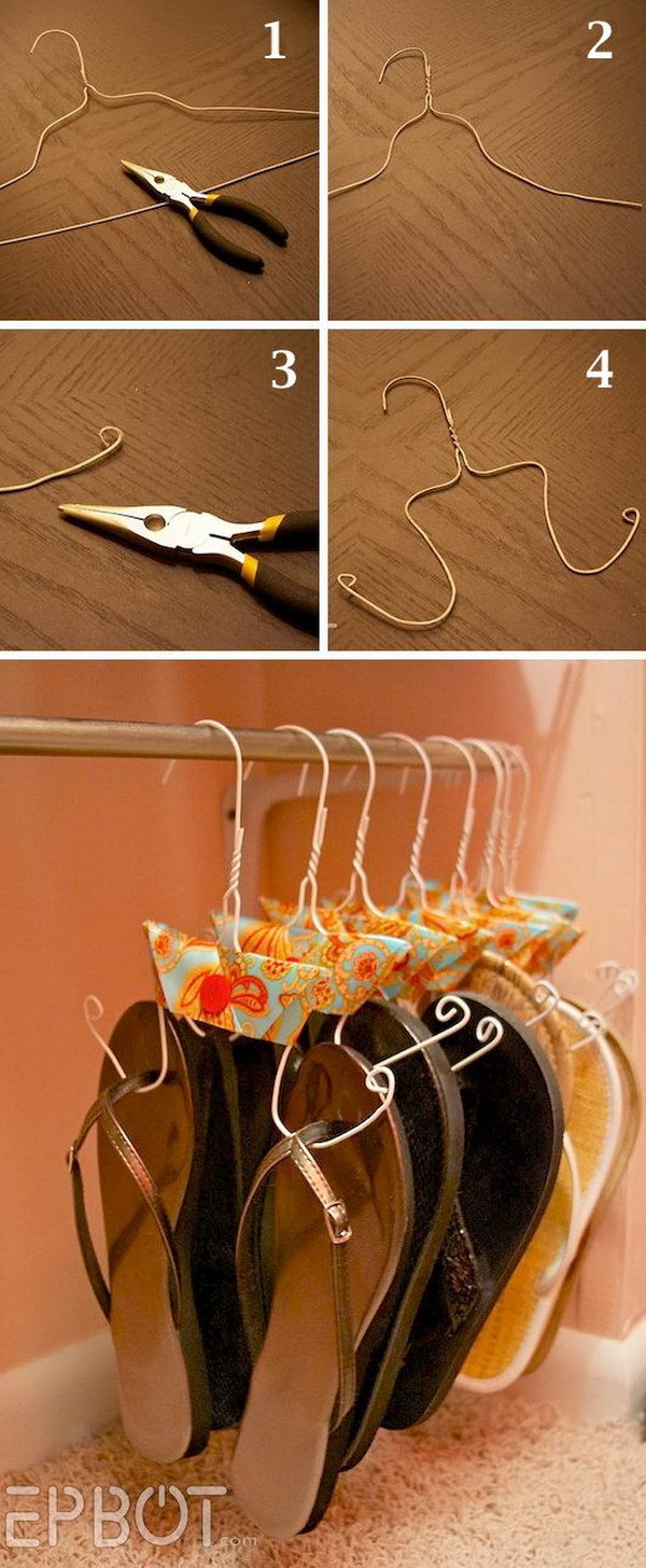 DIY Flip Flop Storage. An easy and budget friendly way to keep all of your flip flops organized and off the floor with a wire cutter and pair of pliers!