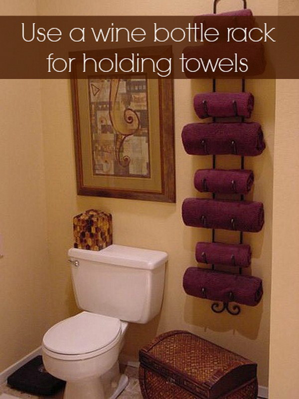 Wine Bottle Rack for Holding Towels.