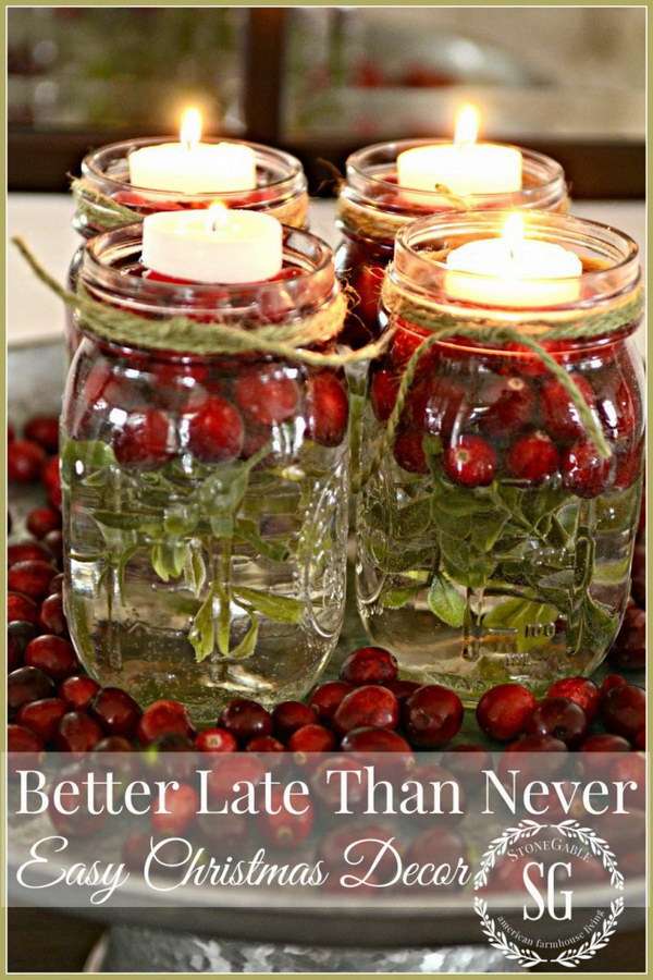 Easy Mason Jar for Christmas Decor.