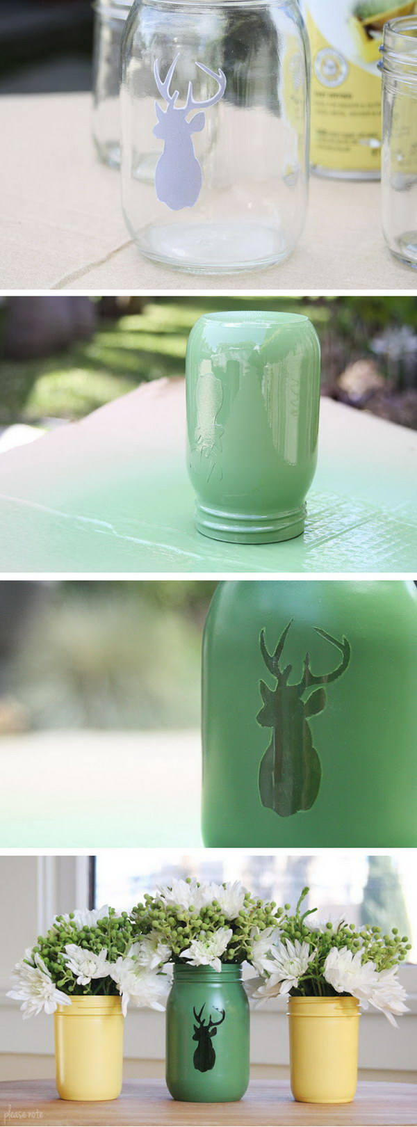 DIY Stenciled Mason Jar Vase.