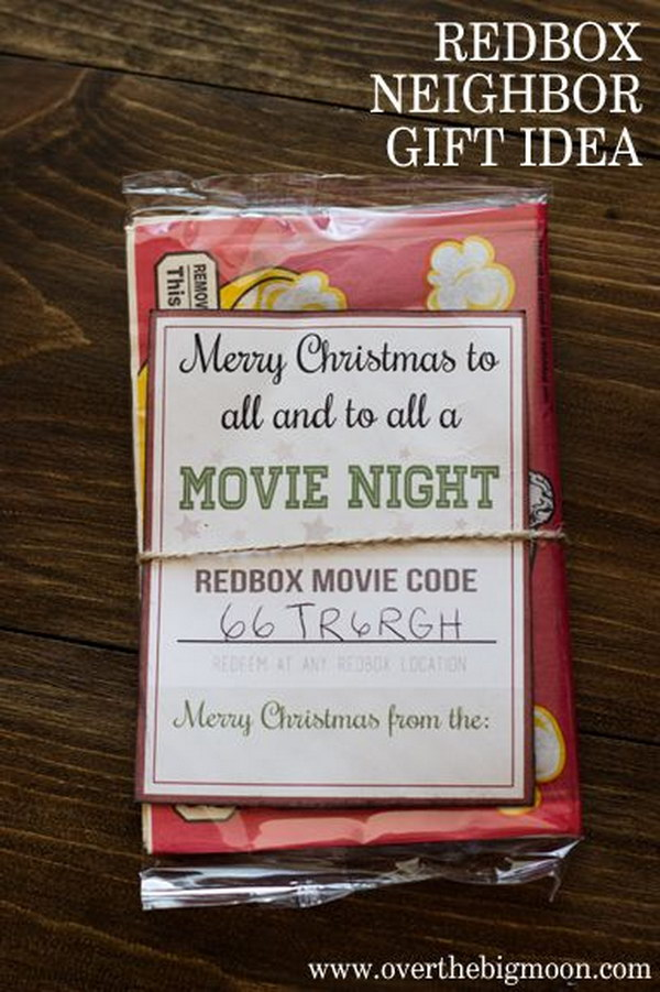 Redbox Neighbor Gift. Merry Christmas to all and to all a movie night! Simple and cute neighbor gift idea for Christmas!