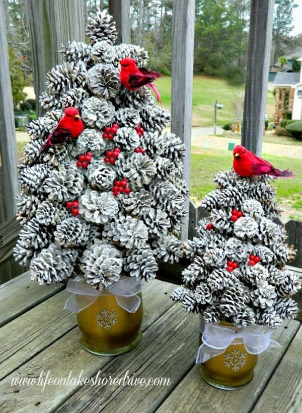 DIY Snowy Pine Cone Tree