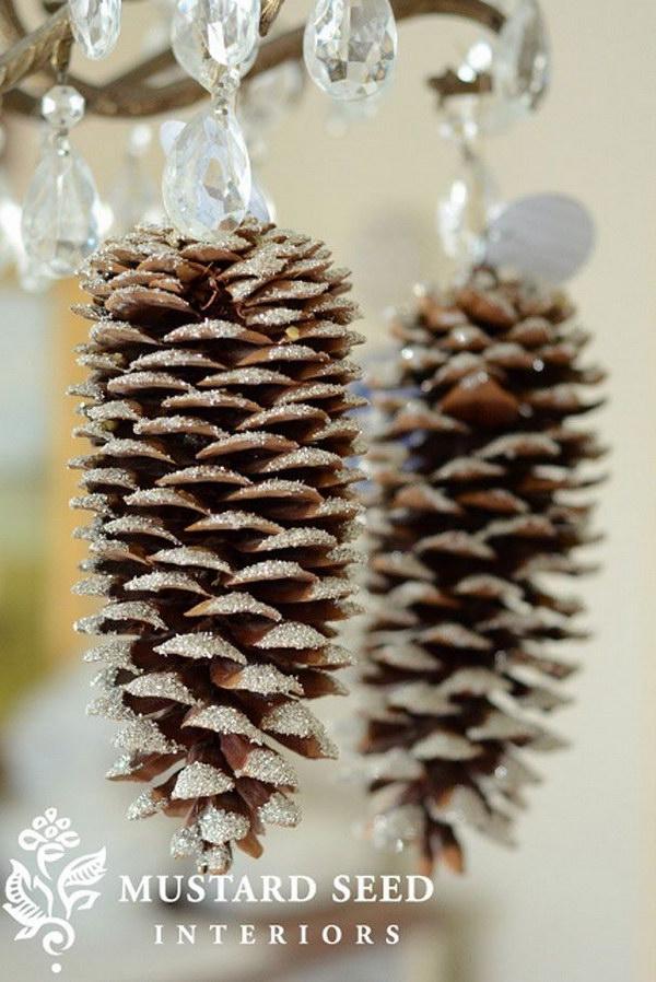 DIY Glittery Pinecones