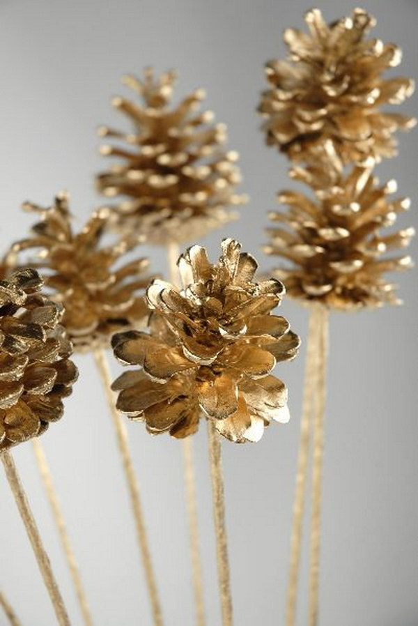 DIY Golden Pinecones