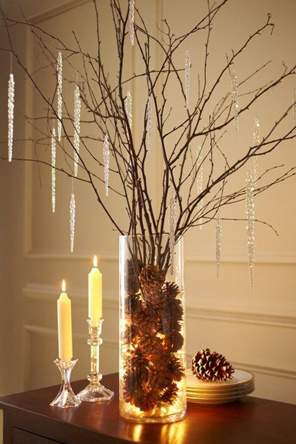 Pinecone and Birch Branch Centerpiece