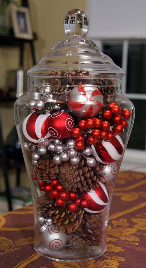 Pinecones and Ornaments in a Glass Jar for Table Centerpiece