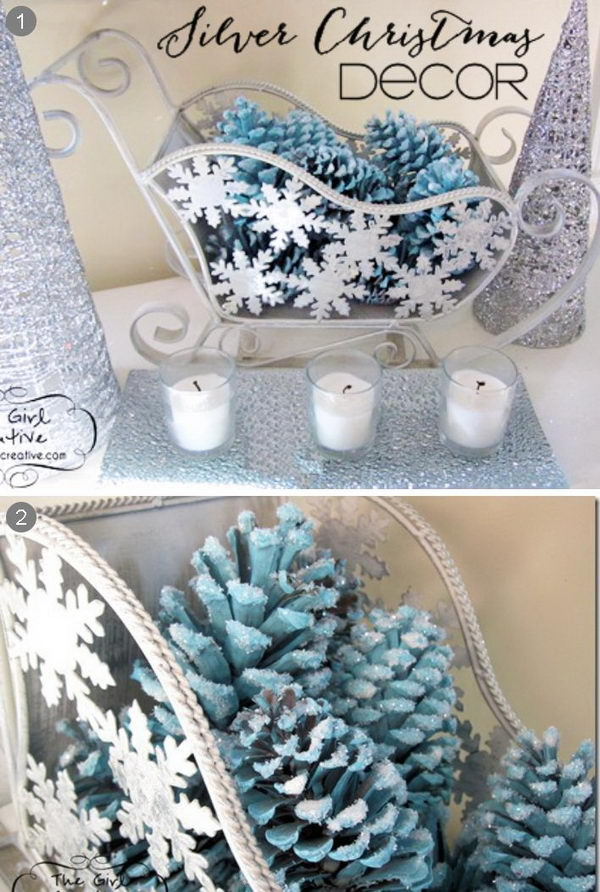 Blue and Silver Pinecone Christmas Centerpiece