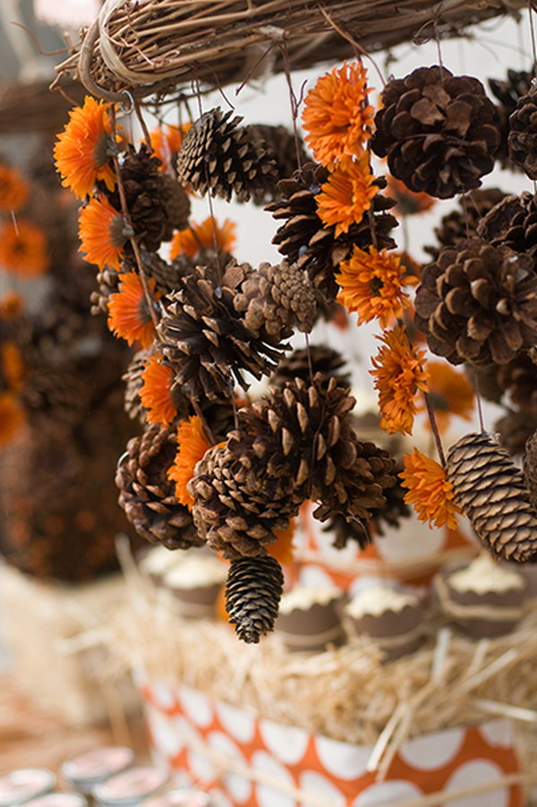 DIY Festive Pinecone Chandelier