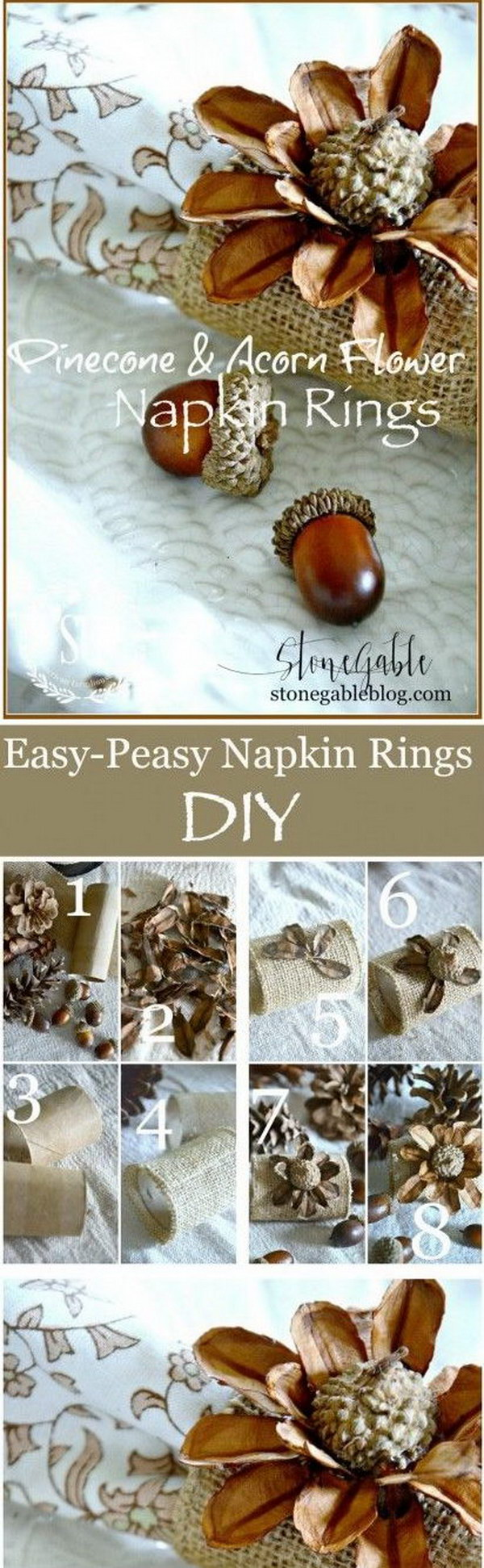 Pinecone and Acorn Flower Napkin Rings