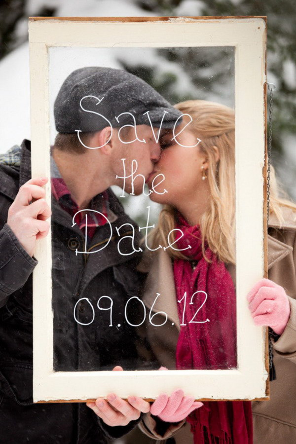 Frame and Winter Background Photo Save the Date