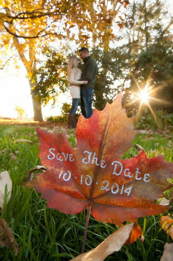 Fall Leaf Save the Date Photo Idea
