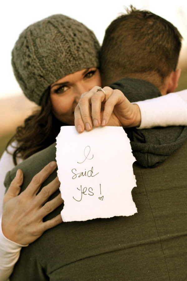She Said Yes Handwritten Note on a Piece of Paper