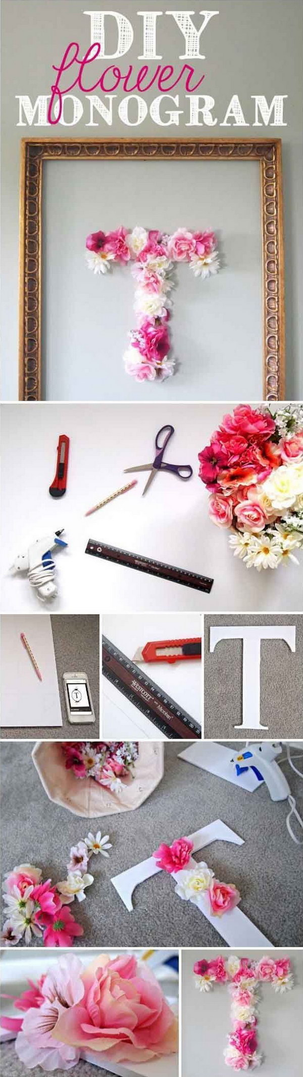 Teen bedroom diy decorating ideas - Diy Flower Monogram