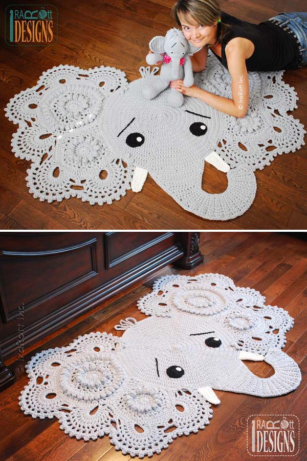 Crochet Elephant Rug