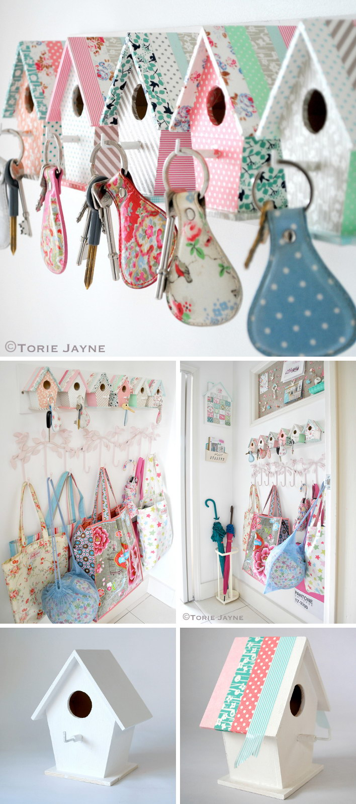 DIY Easy Bird House Key Hooks.