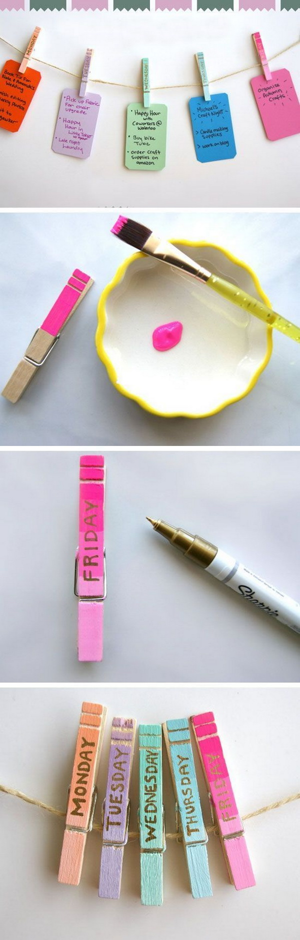 DIY Clothespin Daily Organizers 25 DIY Ideas