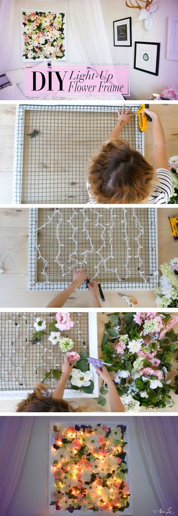 DIY Light Up Flower Frame Backdrop Room Decor.