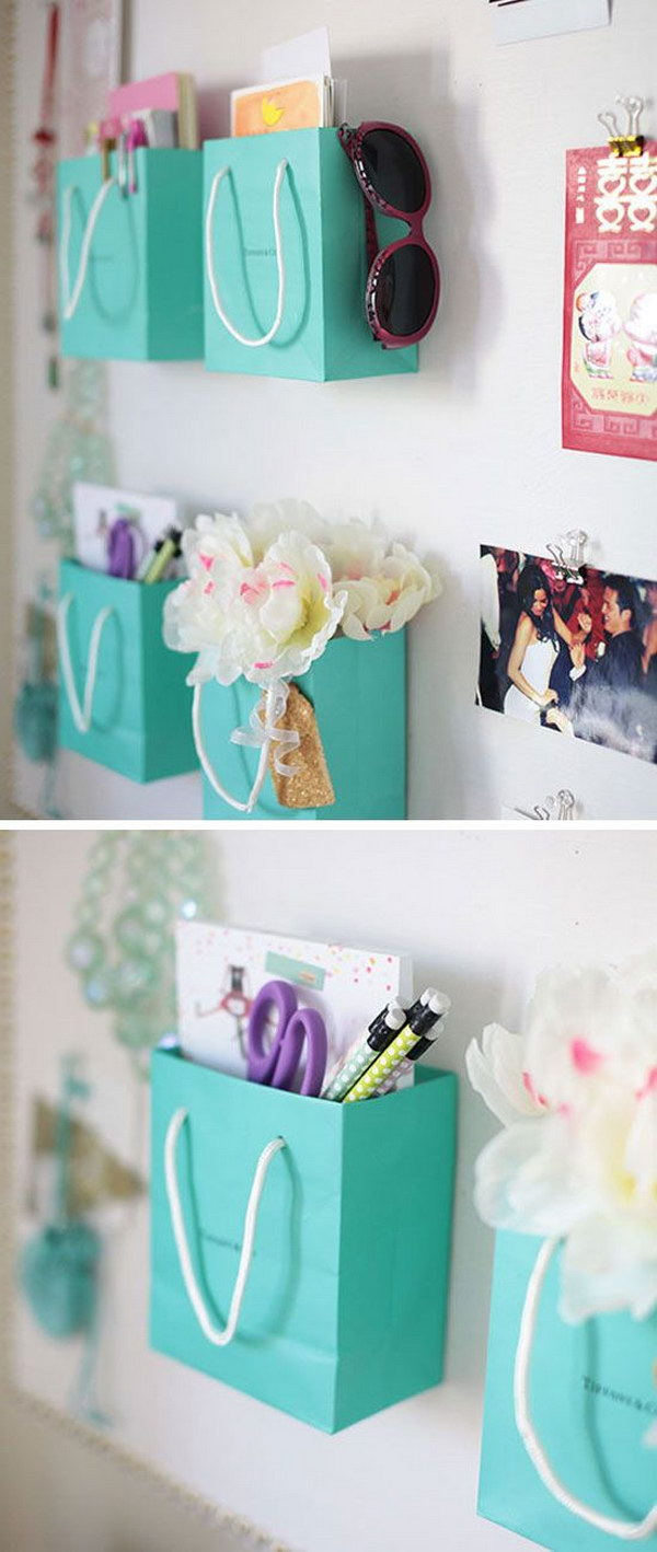 Teen bedroom diy decorating ideas - Shopping Bag Supply Holders