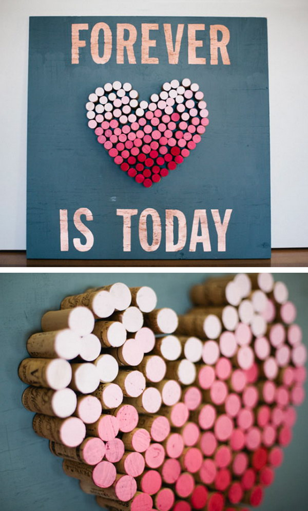 DIY Ombre Cork Heart Wall Art.