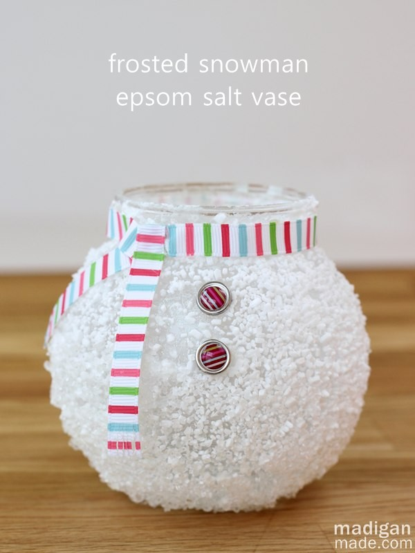 Epsom Salt Snowman Vase. This epsom salt snowman vase is just too cute! Would be a winter home decor item or used as a great gift for teachers, co workers filled with candy or such this winter holiday.