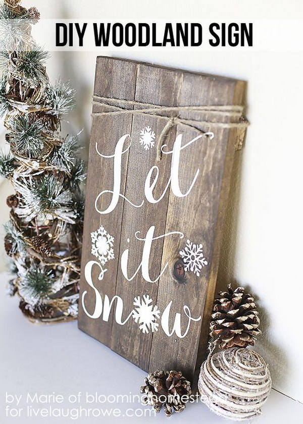 DIY Woodland Sign. Make this fabulous DIY Winter Woodland Sign for the upcoming winter season!