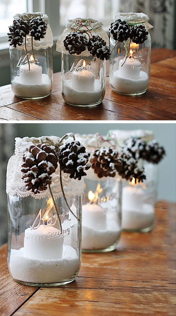 40 Awesome Winter Decorating Ideas Tutorials 4017 Impressive Decorating Ideas For Glass Jars