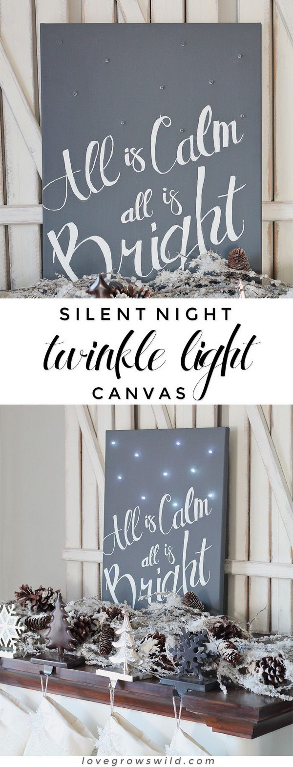 Silent Night Twinkle Light Canvas.