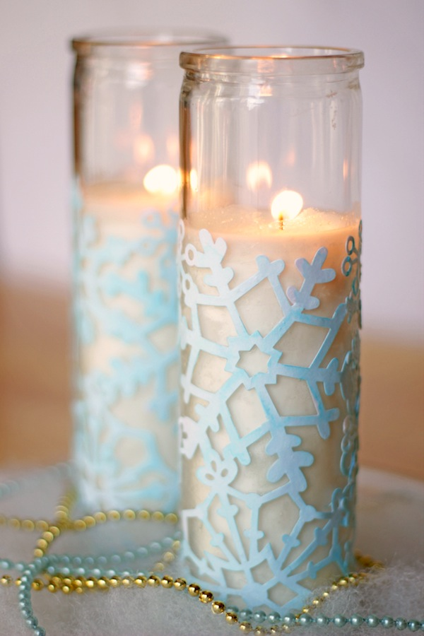 Snowflake Craft: Cute Winter Votives. High-impact and low budget winter decor. Make a nice centerpiece this winter holiday!