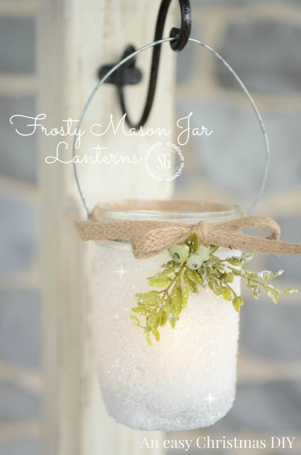 Frosty Mason Jar Lanterns. These frosty mason jar lanterns are so easy to make and looks so beautiful when hanging on doorknobs.