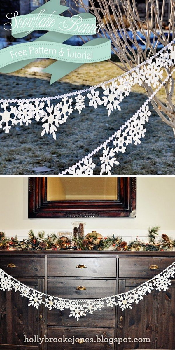 DIY Felt Snowflake Banner. Maybe it will take some time to cut out all these felt snowflakes. But it's worth it and turns out to be a great and inexpensive winter home decor.