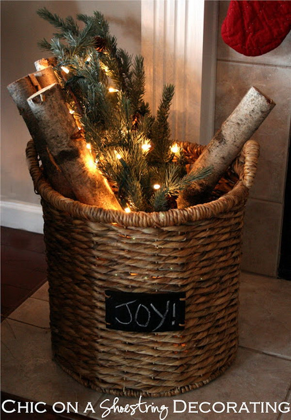 Rustic Holiday Decorating Ideas Part - 21: Rustic Christmas Basket For Decoration