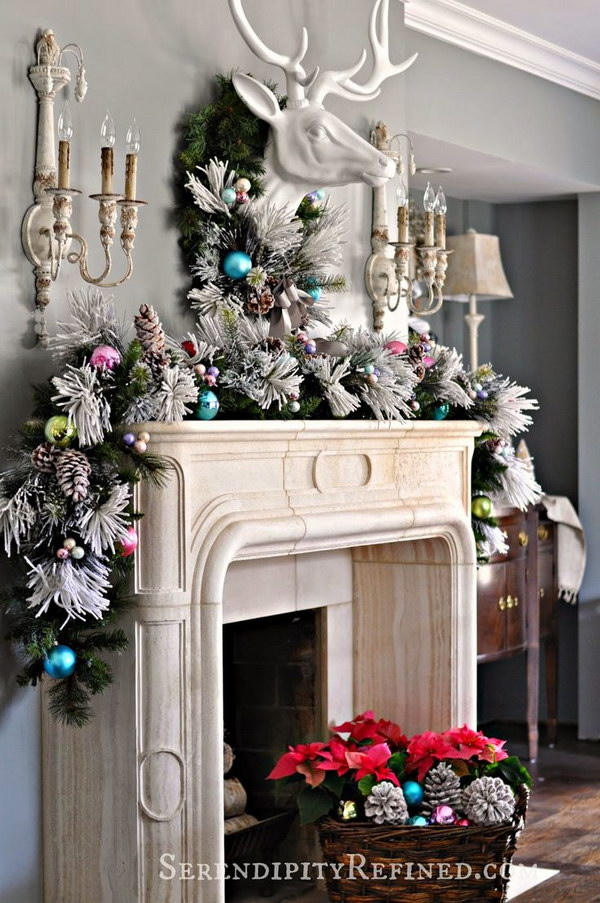 Elegant Christmas Mantel Decoration with Thick, Full Garland